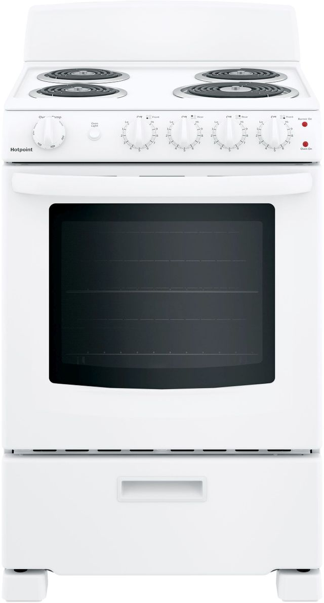 """Hotpoint® 24"""" White Free Standing Electric Range-RAS300DMWW"""