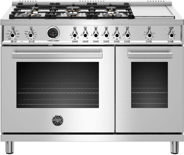 Cuisinière biénergie style Pro Bertazzoni® de 7,0 pi³ de 48 po - Acier inoxydable-PROF486GDFSXT