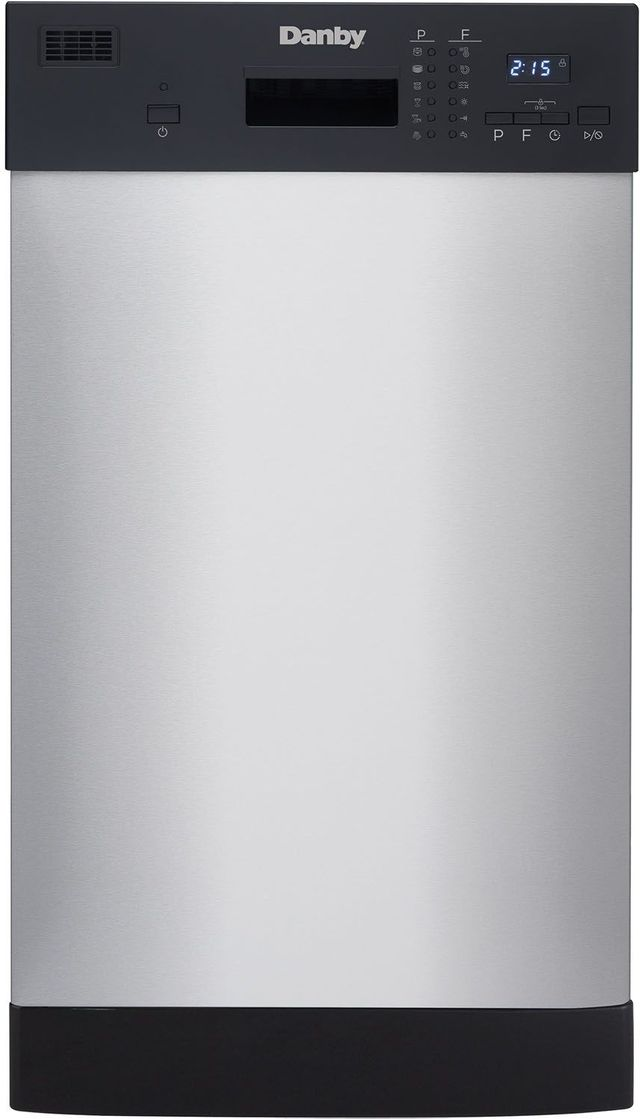 """Danby® 18"""" Black with Stainless Steel Built In Dishwasher-DDW1804EBSS"""