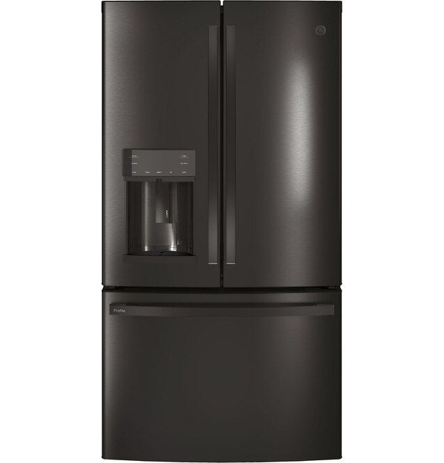 GE Profile™ 27.83 Cu. Ft. Black Stainless Steel French Door Refrigerator-PFE28KBLTS