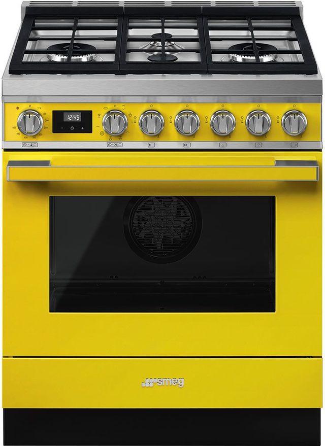 "Smeg Portofino Aesthetic 30"" Yellow Pro Style Dual Fuel Range-CPF30UGMYW"