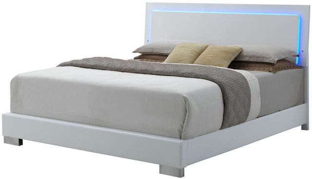 Coaster® Felicity Glossy White Lighted Queen Bed-203500Q