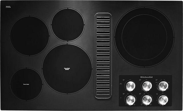 "KitchenAid® 36"" Black Electric Downdraft Cooktop-KCED606GBL"