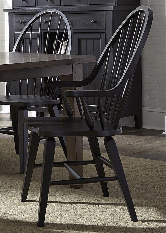 Liberty Furniture Hearthstone Black Arm Chair-482-C1000A