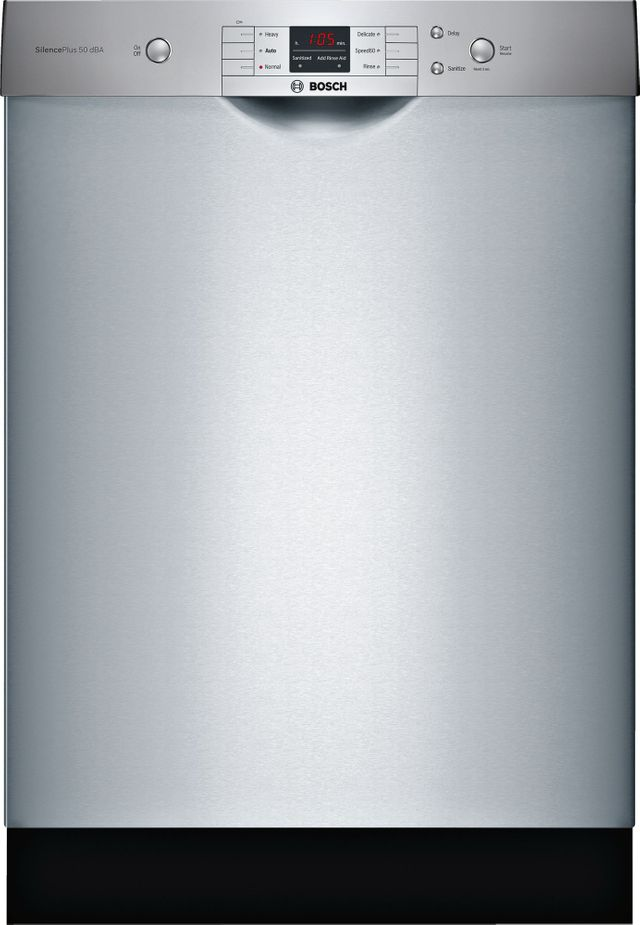 """Bosch 100 Series 24"""" Built In Dishwasher-Stainless Steel-SHEM3AY55N"""