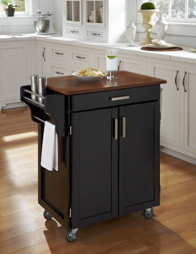 Homestyles Cuisine Cart Black Medium Oak Kitchen Cart 9001 0046g Bob Mills Furniture Tx Ok