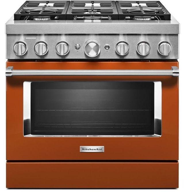 "KitchenAid® 36"" Scorched Orange Smart Commercial-Style Free Standing Dual Fuel Range-KFDC506JSC"