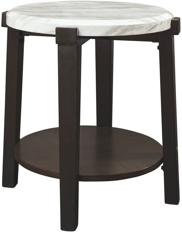 Signature Design by Ashley® Janilly Dark Brown/White Round End Table-T254-6