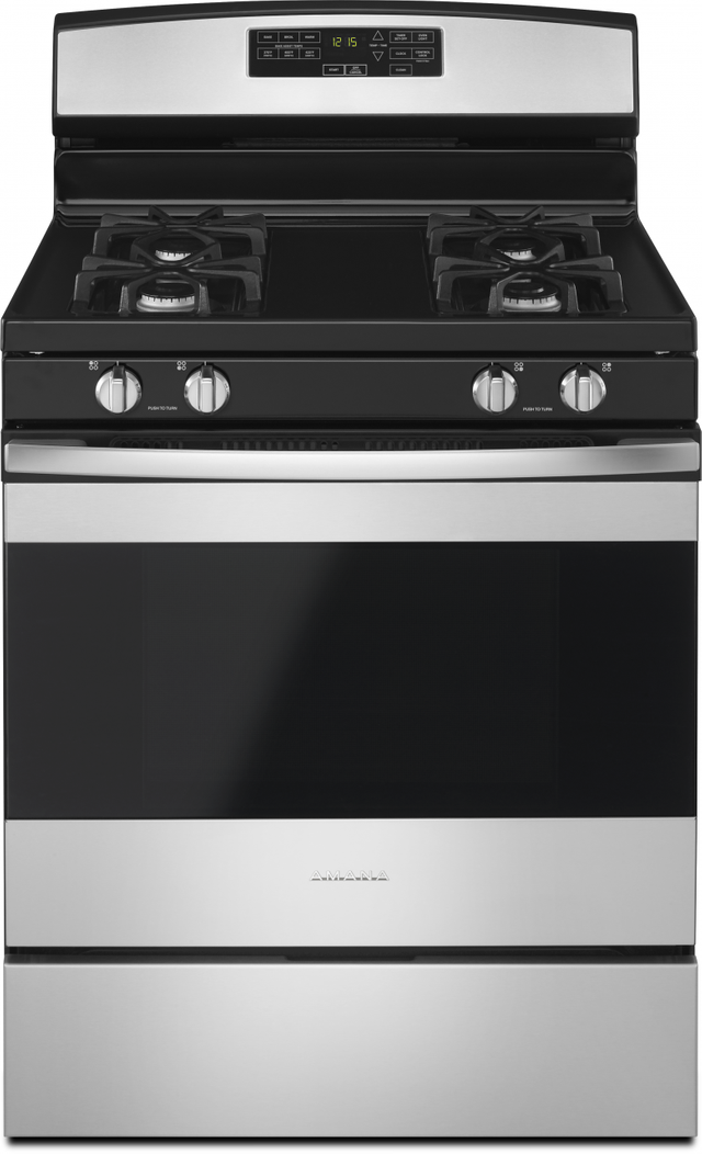 """Amana® 30"""" Free Standing Gas Range-Black on Stainless-AGR6603SFS"""
