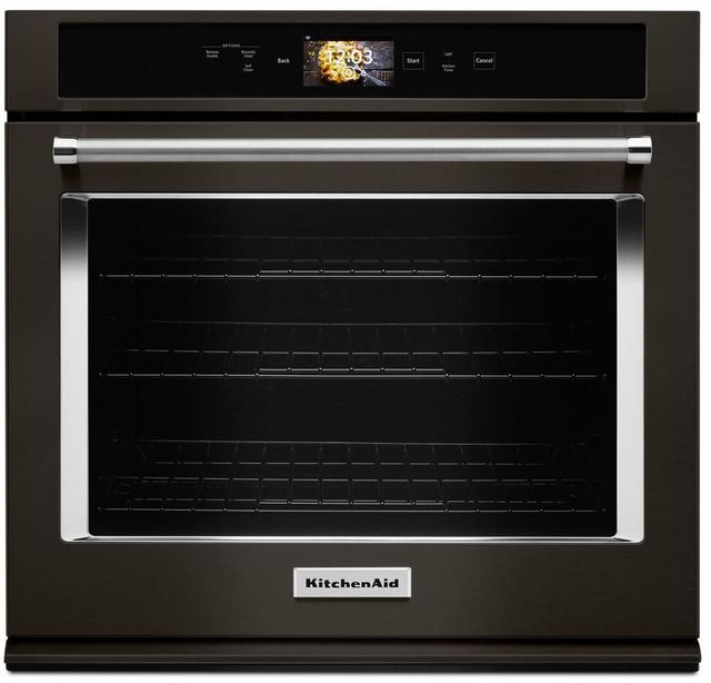 """KitchenAid® 30"""" Black Stainless Steel with PrintShield™ Finish Smart Electric Single Oven Built In-KOSE900HBS"""