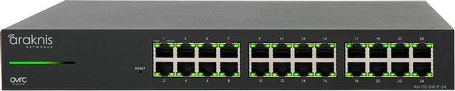 SnapAV Araknis Networks® 110 Series Black 24 Front Ports Unmanaged+ Gigabit Switch-AN-110-SW-F-24