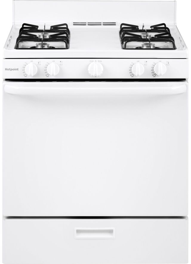 """Hotpoint® 30"""" White Free Standing Gas Range-RGBS100DMWW"""