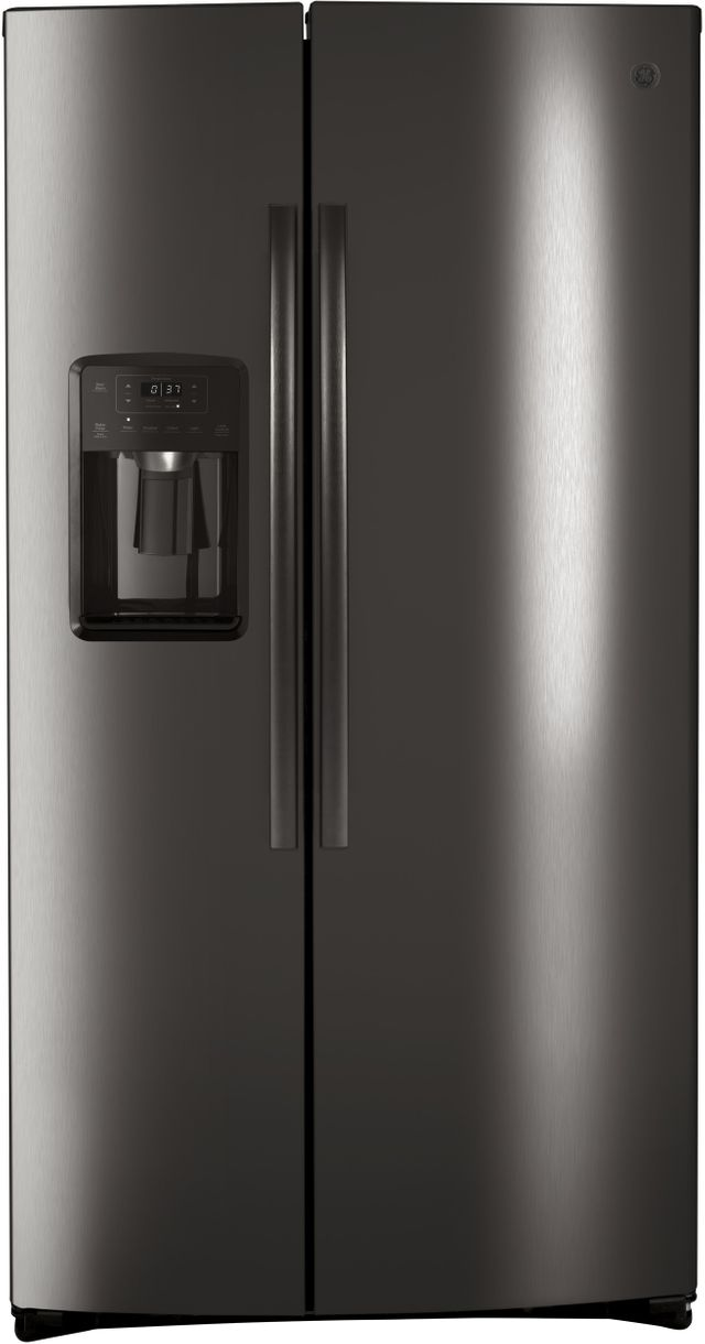 GE® 25.1 Cu. Ft. Black Stainless Steel Side-By-Side Refrigerator-GSS25IBNTS
