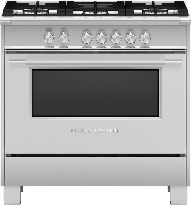 """Fisher & Paykel 36"""" Brushed Stainless Steel with Black Glass Freestanding Gas Range-OR36SCG4X1"""
