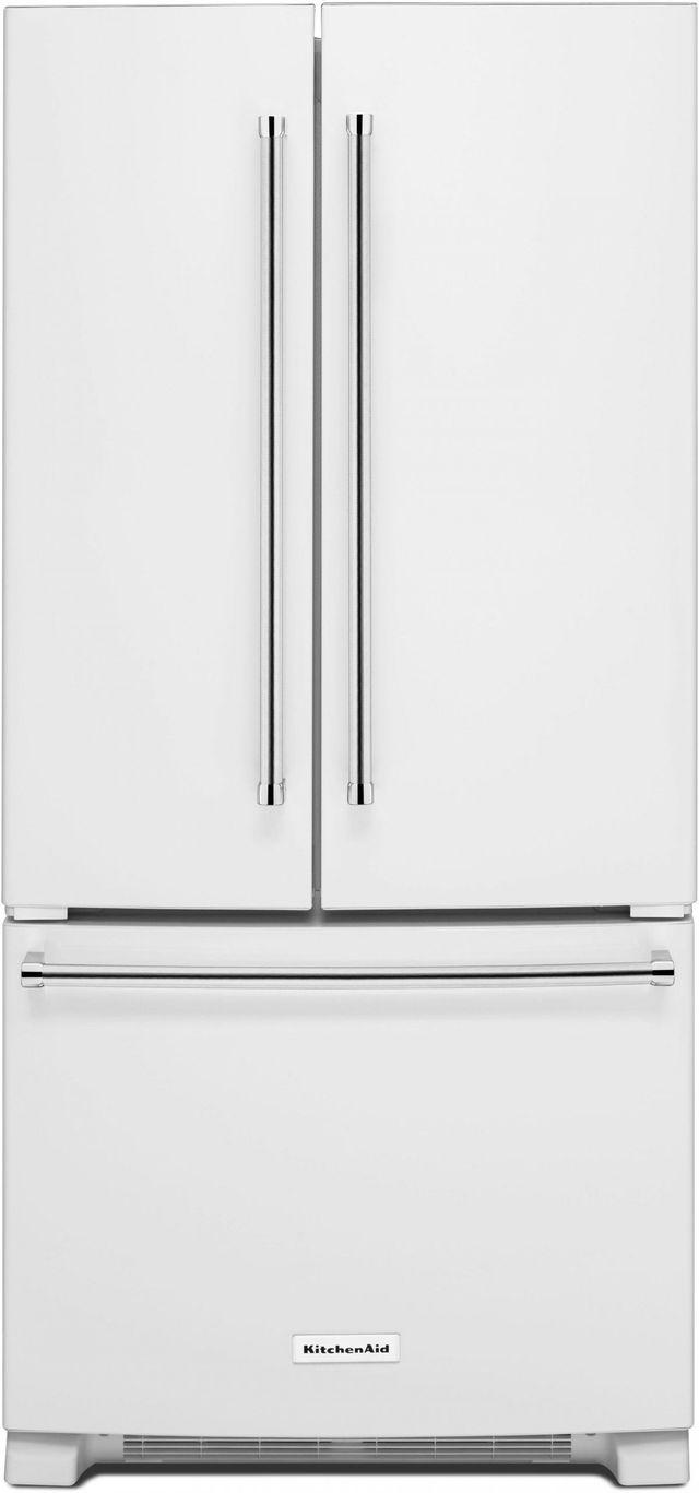 KitchenAid® 22.11 Cu. Ft. White French Door Refrigerator-KRFF302EWH