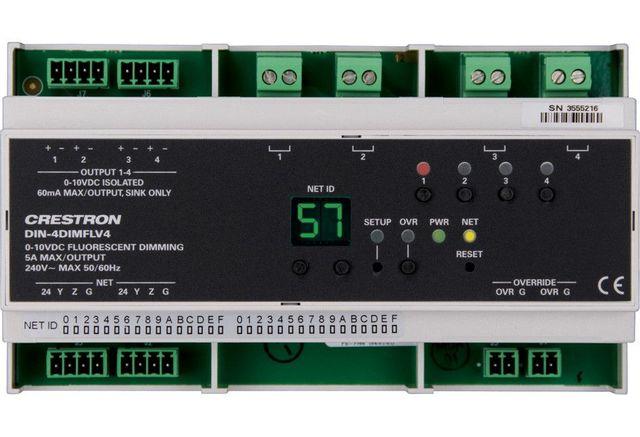 Crestron® DIN Rail 0-10V Dimmer Module-DIN-4DIMFLV4