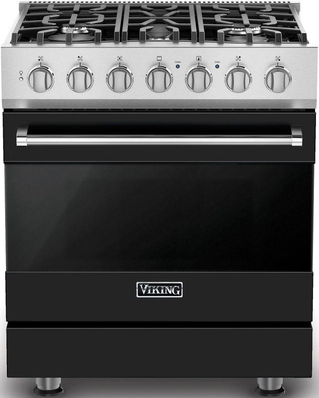 "Viking® 3 Series 30"" Black Freestanding Dual Fuel Range-RVDR33025BBK"