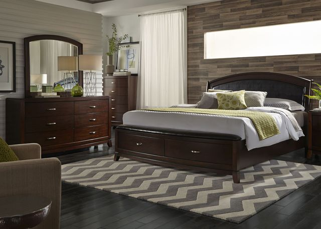 Liberty Furniture Avalon 4 Piece Dark Truffle Queen Storage Bedroom Set-505-BR-QSBDMC