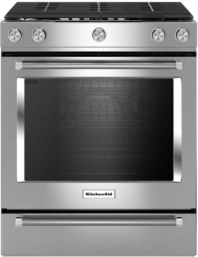 """KitchenAid® 30"""" Stainless Steel Slide In Gas Range-KSGG700ESS"""