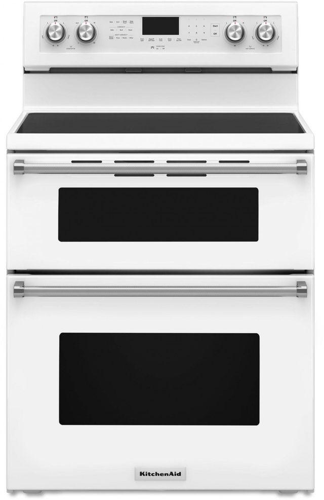 "KitchenAid® 30"" White Free Standing Electric Double Oven Range-KFED500EWH"