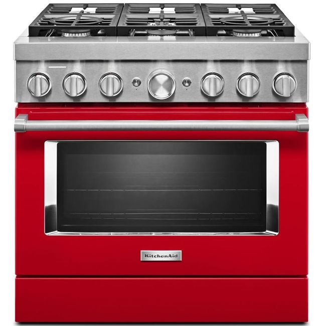 """KitchenAid® 36"""" Passion Red Commercial-Style Free Standing Dual Fuel Range-KFDC506JPA"""