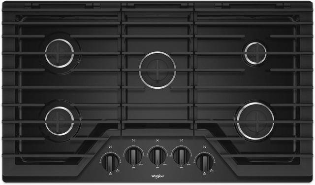 """Whirlpool® 36"""" Black Gas Cooktop-WCG55US6HB"""