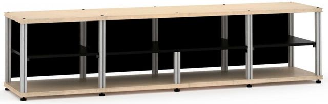 Salamander Designs® Synergy Open Center Quad 20 AV Cabinet-Natural Maple/Aluminum-SQC20M/A