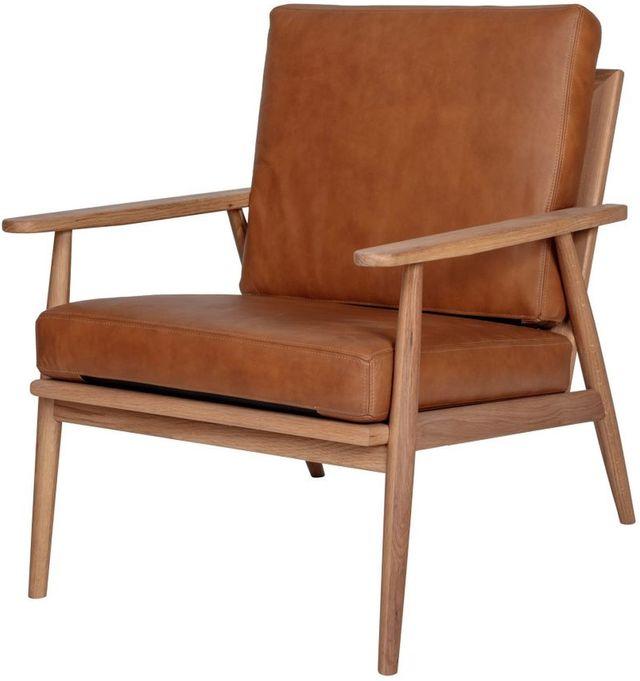 Chaise longue Harper en cuir brun Moe's Home Collections®-YC-1017-40