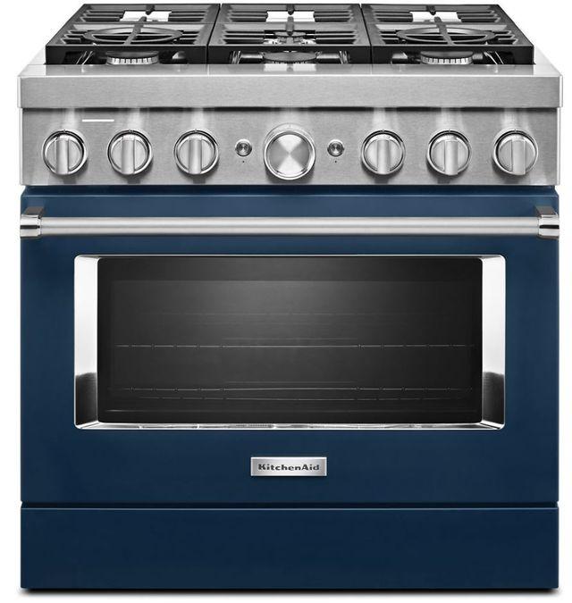 "KitchenAid® 36"" Ink Blue Commercial-Style Free Standing Dual Fuel Range-KFDC506JIB"