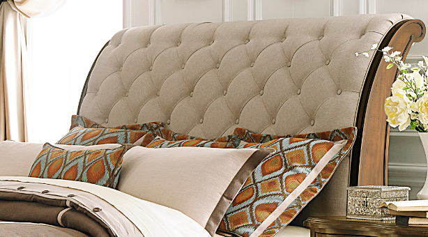 Liberty Furniture Cotswold Cinnamon Queen Upholstered Sleigh Headboard-545-BR21H