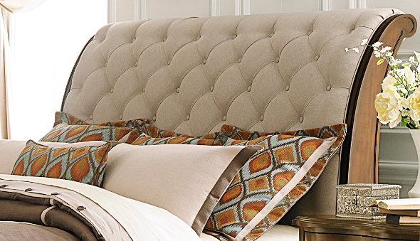 Liberty Furniture Cotswold Cinnamon King Upholstered Sleigh Headboard-545-BR22H