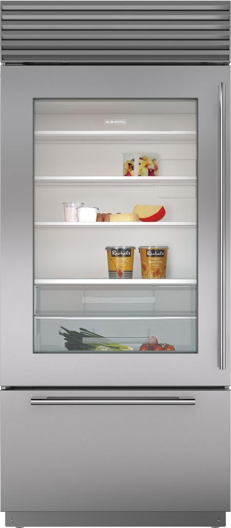 Sub-Zero® 21.6 Cu. Ft. Stainless Steel Built In Bottom Freezer Refrigerator-BI-36UG/S/TH-LH