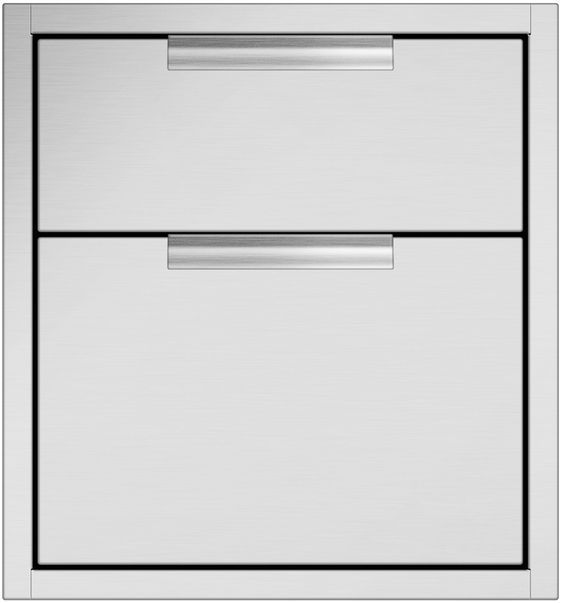 """DCS 20.31"""" Brushed Stainless Steel Tower Drawer Double-TDD1-20"""