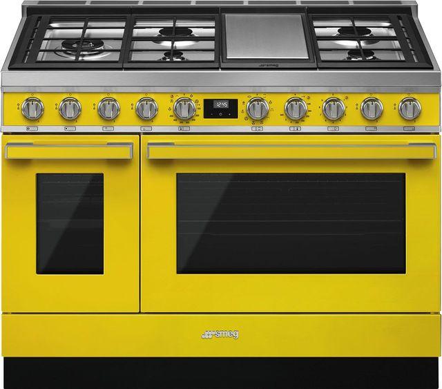 "Smeg Portofino Aesthetic 48"" Yellow Pro Style Dual Fuel Range-CPF48UGMYW"