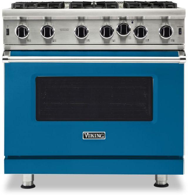 "Viking® 5 Series 36"" Alluvial Blue Pro Style Natural Gas Range-VGIC53626BAB"