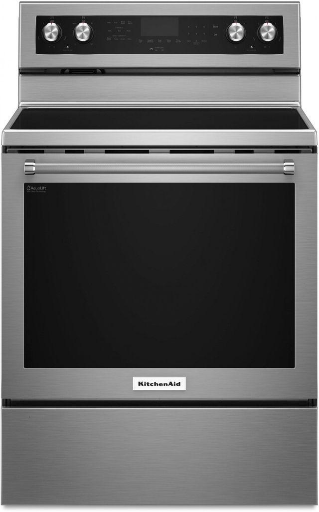 "KitchenAid® 30"" Stainless Steel Free Standing Electric Convection Range-KFEG500ESS"