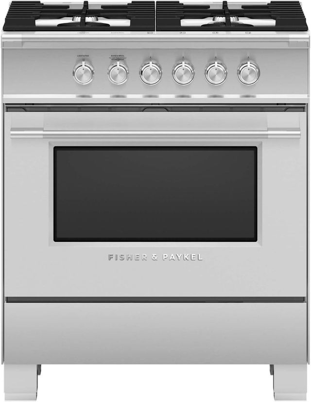 """Fisher Paykel 30"""" Brushed Stainless Steel with Black Glass Free Standing Gas Range-OR30SCG4X1"""