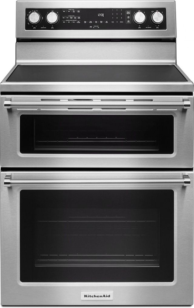 """KitchenAid® 30"""" Stainless Steel Free Standing Electric Double Oven Range-KFED500ESS"""