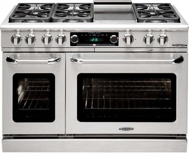 """Capital Connoisseurian 48"""" Stainless Steel Free Standing Dual Fuel Range-CSB484G2L"""