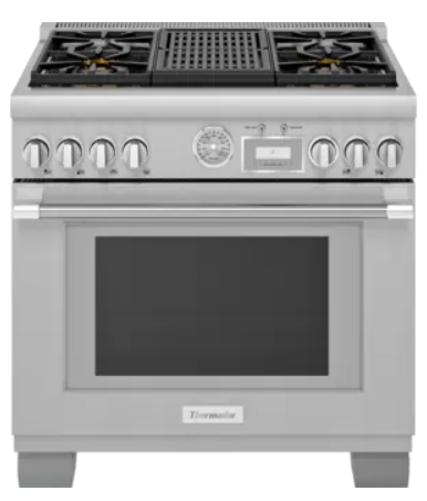 """Thermador® Pro-Grand® Series 36"""" Stainless Steel Pro Style Dual Fuel Range with Grill-PRD364WLGC"""