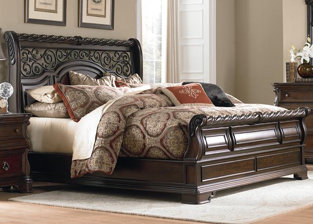 Liberty Furniture Arbor Place 4 Piece Brownstone Queen Sleigh Bedroom Set-575-BR-QSLDMN