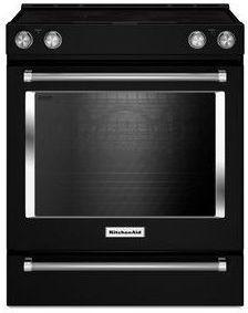 "KitchenAid® 30"" Slide In Electric Convection Range-Black-KSEB900EBL"