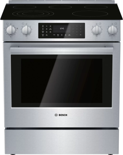 """Bosch by Benchmark ® 30"""" Stainless Steel Slide In Electric Range-HEIP056C"""