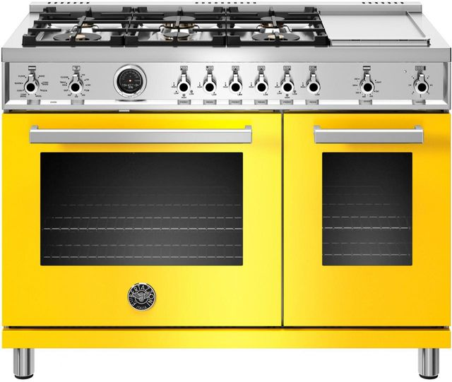 "Bertazzoni Professional Series 48"" Yellow Pro Style Duel Fuel Range-PROF486GDFSGIT"