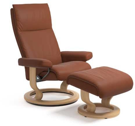 Stressless® by Ekornes® Aura Medium Classic Base Chair and Ottoman-1343015