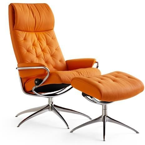 Stressless® by Ekornes® Metro High Back Star Base Chair and Ottoman-1292326