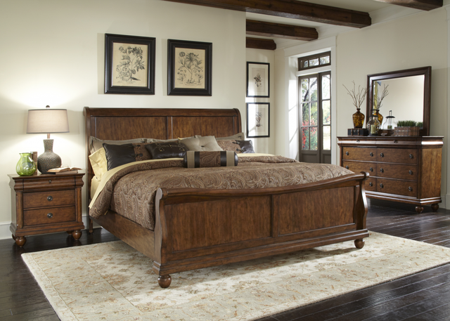 Liberty Rustic Traditions Bedroom King Sleigh Bed, Dresser, Mirror and Night Stand Collection-589-BR-KSLDMN