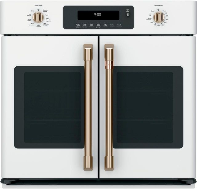 """Café™ 30"""" Matte White French Door Electric Single Oven Built In-CTS90FP4MW2"""