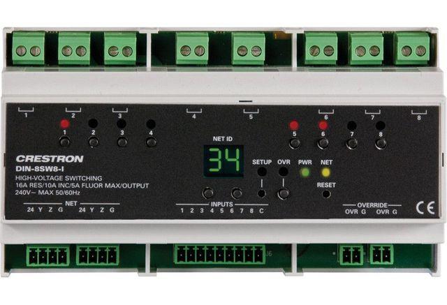 Crestron® DIN Rail High-Voltage Switch-DIN-8SW8-I