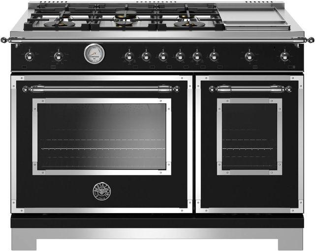 Cuisinière au gaz style Pro Bertazzoni® de 7,1 pi³ de 48 po - Noir mat-HERT486GGASNET